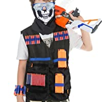 HOBFU 2 Sets Tactical Vest Kits for Nerf Gun 2 Pack N-Strike Elite Tactical Vest Jacket with 4 Wrist Bands, 4 Quick Reload Clips, 2 Protective Glasses 80 Bullets and 2 Face Tube Mask for Kids Fun