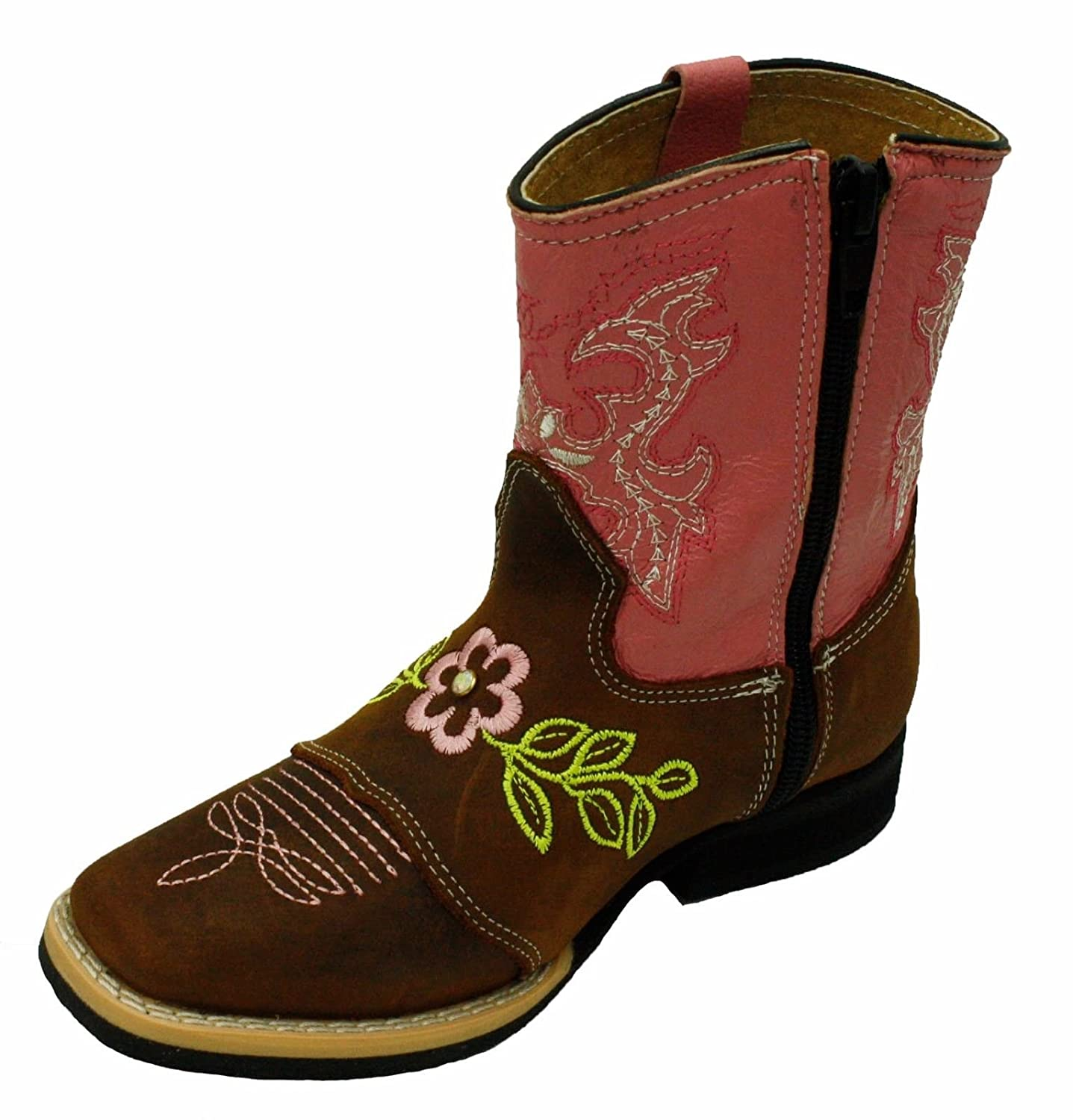 Kids Unisex Genuine Leather Western Rodeo Cowboy Side Zipper Boots Tan Pink-Toddler-10
