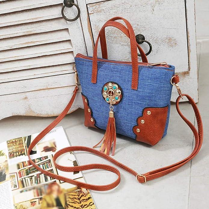 8b43e03e96c4 Wobuoke Women Canvas Tassel Hit Color Shoulder Messenger Hand Bag ...