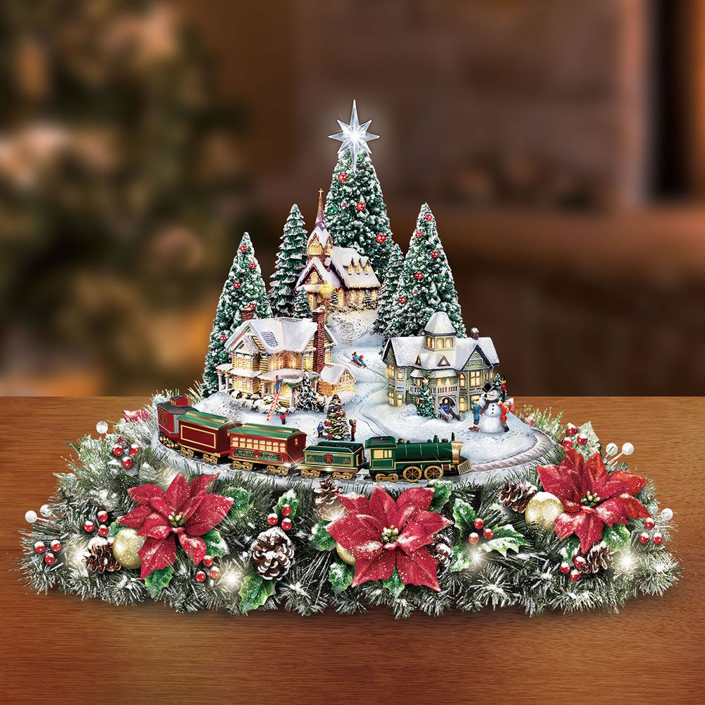 The Thomas Kinkade Illuminated Animated Centerpiece by Jinley