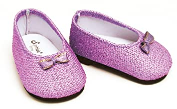1d7be385679c Purple Glitter Doll Shoes Fits American Girl 18 Inch Dolls, Doll Dress Shoes