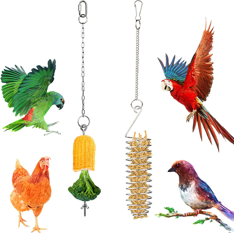 Bird Food Holder, Parrots Foraging Toys for Birdcage, Stainless Steel Chicken Bird Treat Feeder Skewer for Outdoors Hanging, Bird Food Basket for Fruit Vegetable Grain Wheat Stick Holder