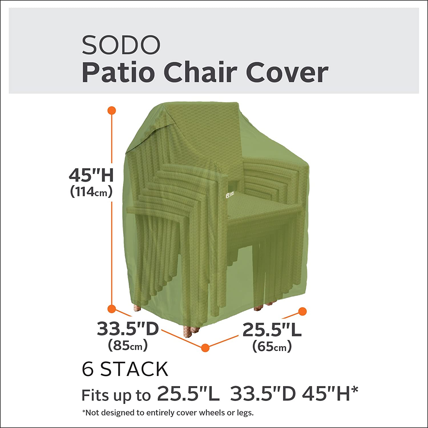Classic Accessories 55-947-011901-EC Sodo Plus Chair Cover, Stackable