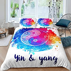 Yin and Yang Gossip Duvet Cover Tie-Dye Decor Exotic Style Bedding Set with Zipper Ties Colorful Watercolor Pattern Mandala Printed Comforter Cover,1 Duvet Cover with 1 Pillow Case, Twin Size