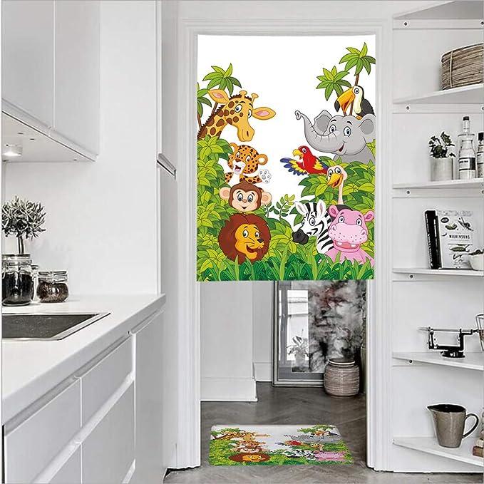 Cortinas de puerta de lino impreso en 3D con textura francesa de 1 panel y 1 alfombrilla de felpudo de cocina, diseño de bosque colorido y vivo, para flores de jardín, cortina