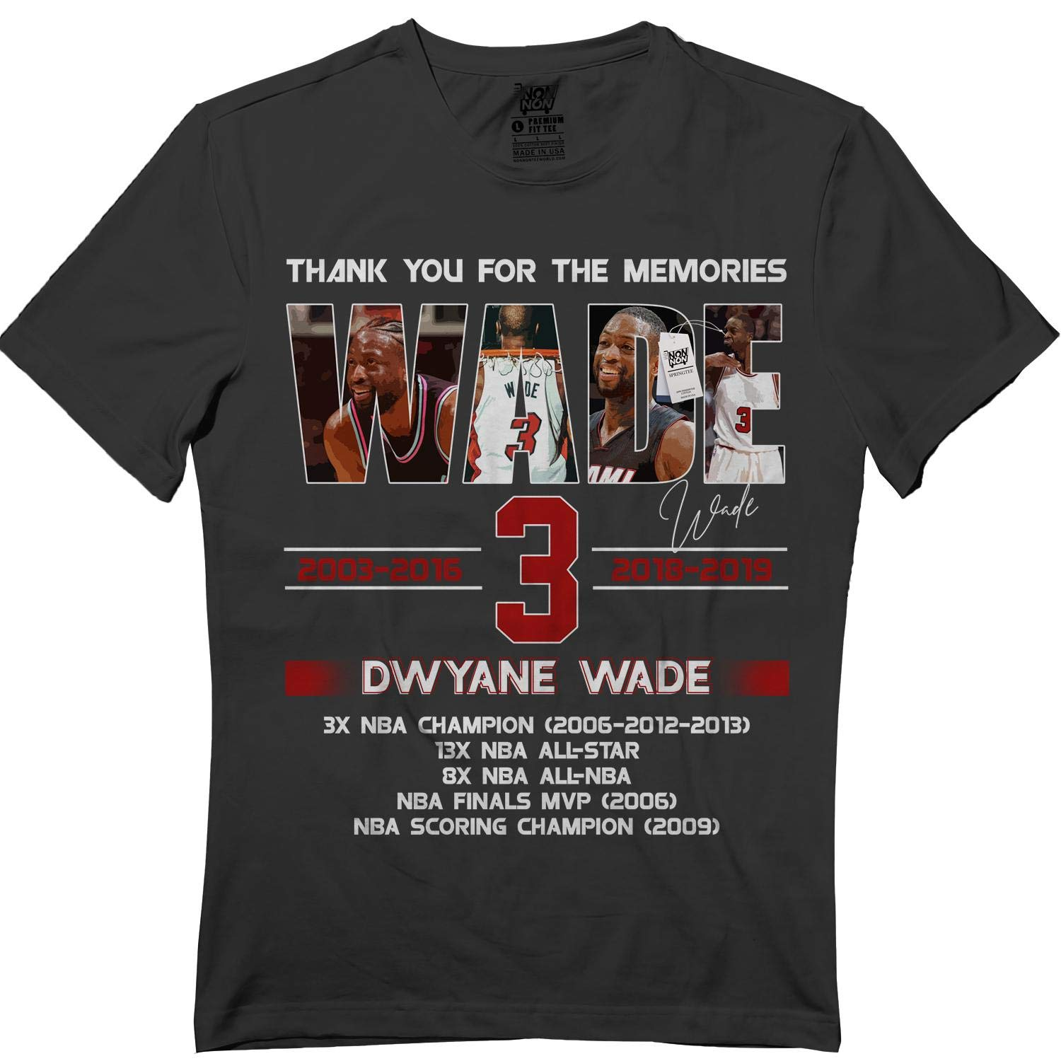 Miami D Wade 3 King Thank You For The Memories Tshirt 9086