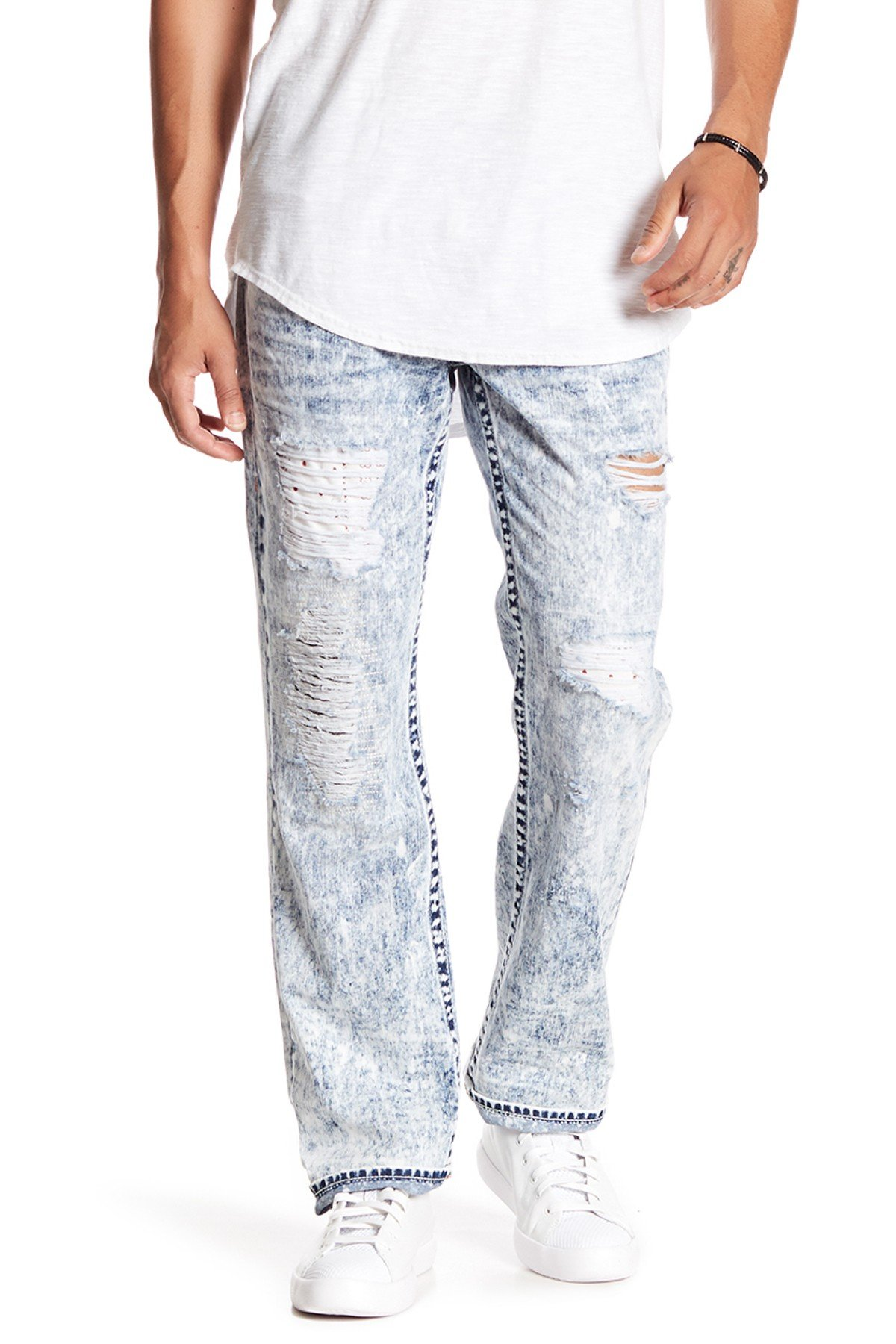 True Religion Men's Straight Leg Relaxed Bandana Ripped Patch Jeans w/Flaps in Summer Melody (33)