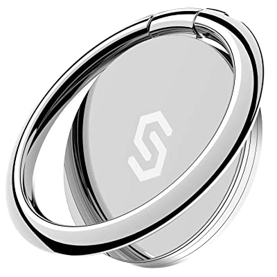 Syncwire Cell Phone Ring Holder Stand, 360 Degree Rotation Universal Finger Ring Kickstand with Polished Metal Phone Grip for Magnetic Car Mount Compatible with iPhone, Samsung, LG, Sony - Silver