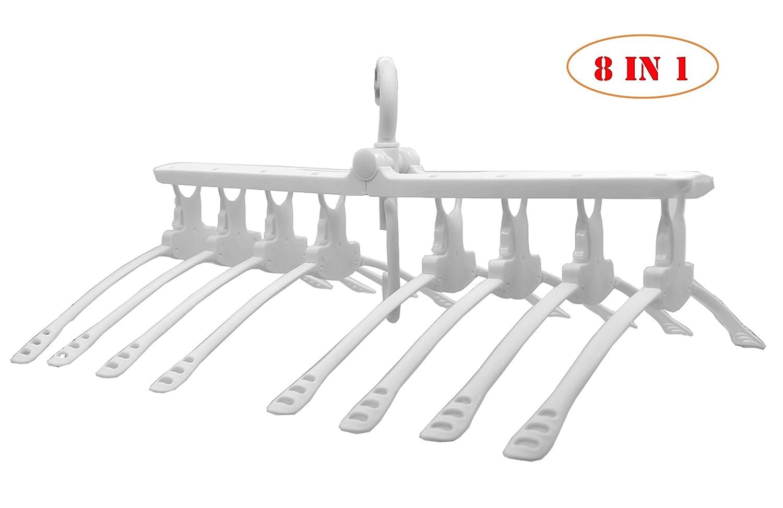 JEANGO Appendiabiti Pieghevole Multifunzionale Appendino Magico Multistrato Bianco plastica 8 in 1 Risparmia Spazio Rotazione di 360 /°