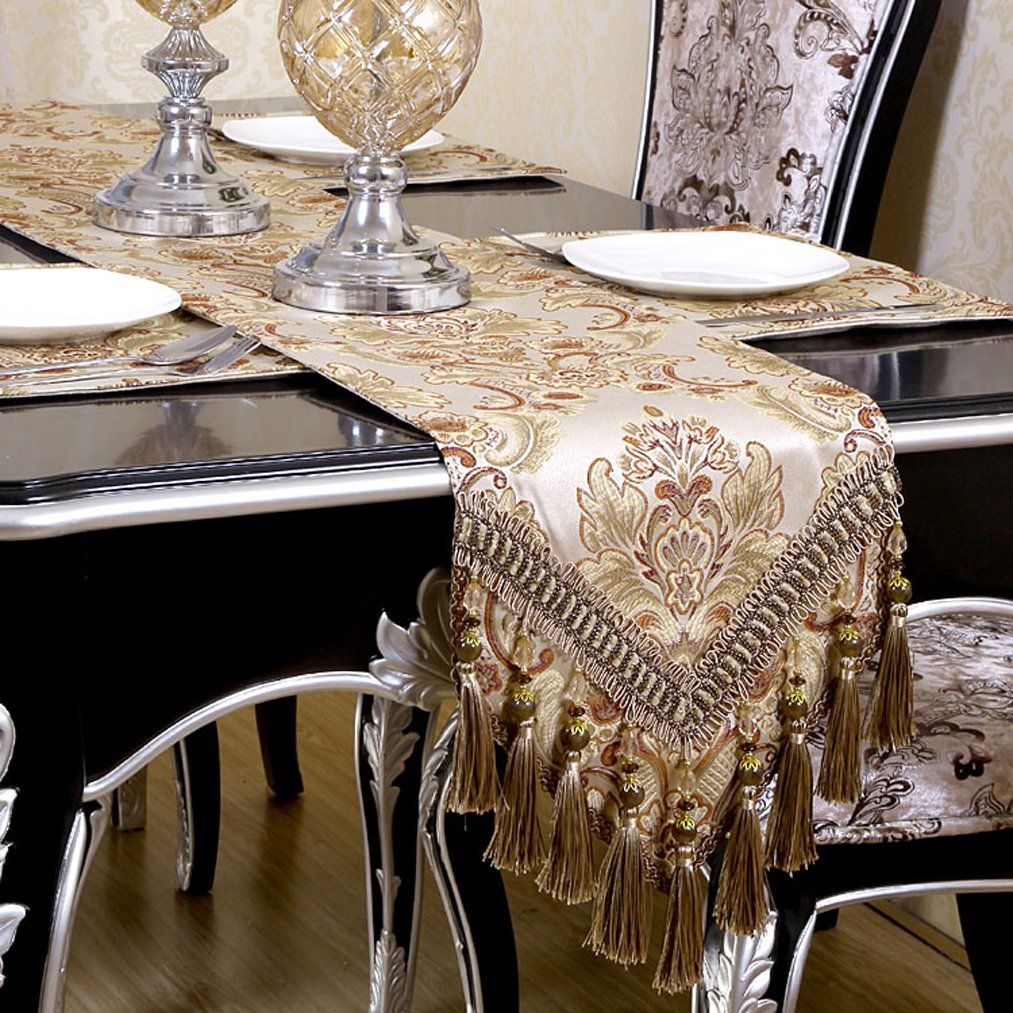 QXFSMILE Modern Jacquard Floral Table Runner Handmade Tassel Embroidered Table Runners Khaki 13 By 156 Inch Multi-tassels