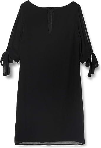 TALLA 44 (Talla del Fabricante: X-Large). Marca Amazon - TRUTH & FABLE Vestido Evasé de Gasa Mujer Negro (Black) 44 (Talla del fabricante: X-Large)