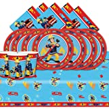 Fireman Sam Complete Party Supplies Kit Blue For 16