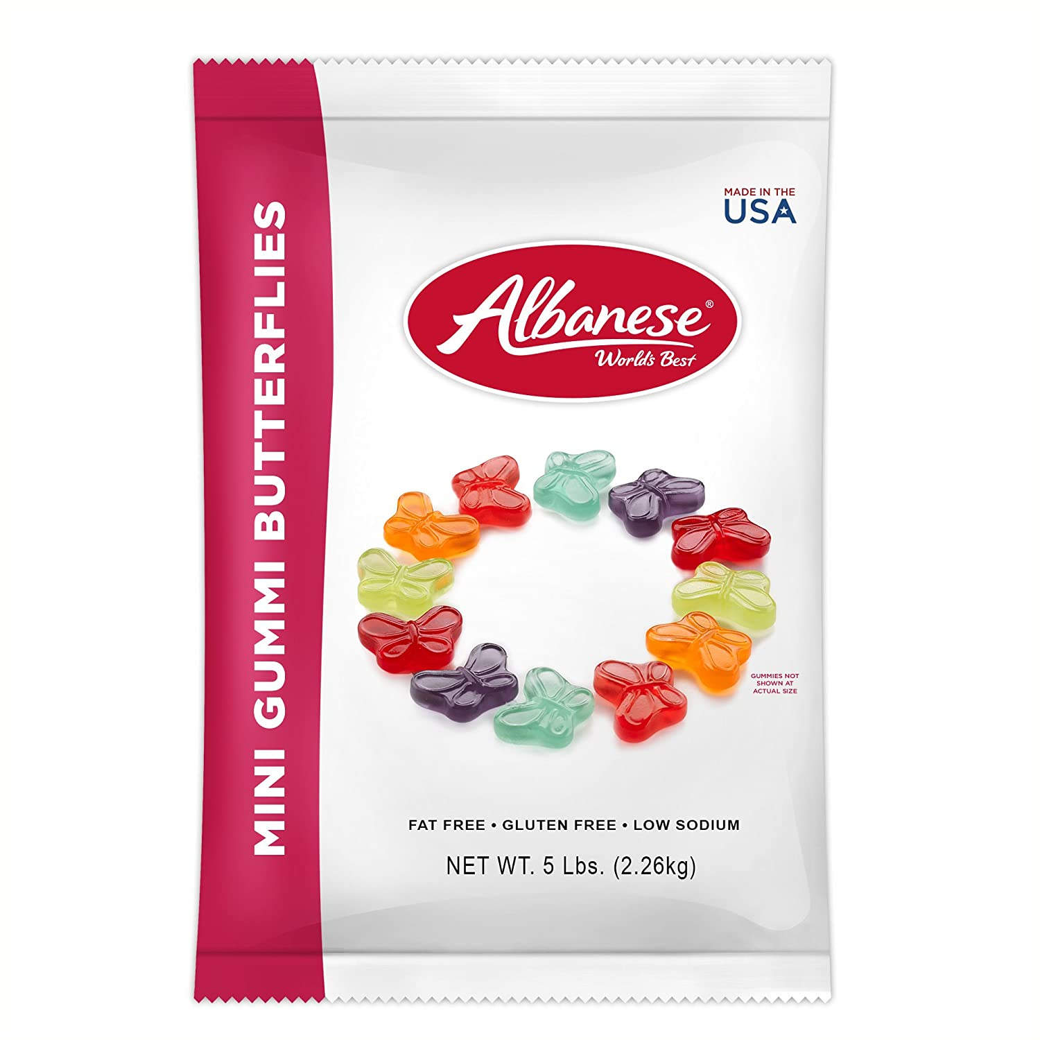 Albanese Candy Mini Gummi Butterflies 80 Ounce (Pack of 1), Gummi Candy Assorted Flavors: Grape, Strawberry, Orange, Blue Raspberry, Cherry, Green Apple; Gluten Free Dairy Free Fat Free Low Calorie