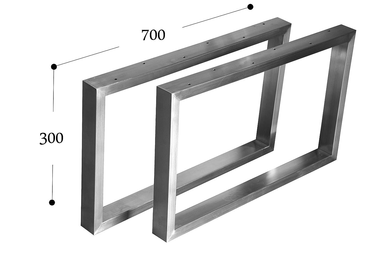 CHYRKA Kufengestell Tischgestell Edelstahl 201 Rahmentisch Tischkufe Tischuntergestell (300mm x700 mm - 1 Paar)