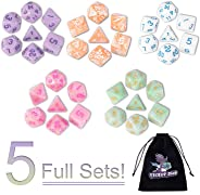 DND Dice, 5 x 7 Sets (35 Pieces) Polyhedron Dice for Dungeons & Dragons RPG MTG DND Tabletop Game with 1 Free Pouch D4 D8 D1
