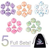 DND Dice, 5 x 7 Sets (35 Pieces) Polyhedron Dice for Dungeons & Dragons RPG MTG DND Tabletop Game with 1 Free Pouch D4…
