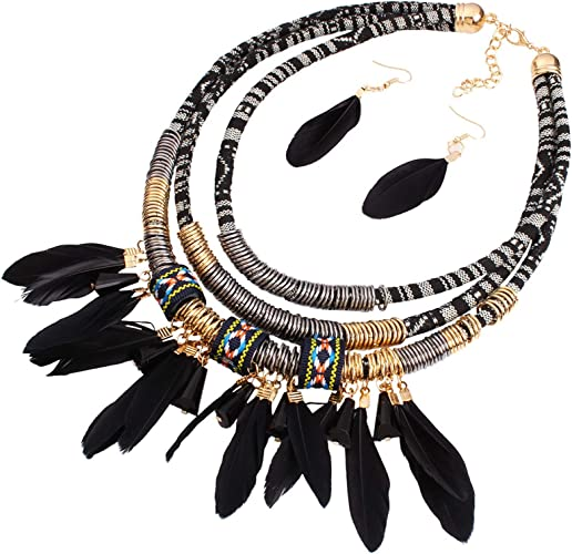 Setmatching large bead African braclet and earrings with feather pendant
