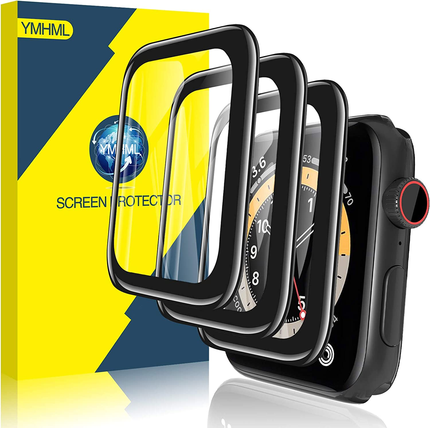 [3 Pack] Compatible for Apple Watch Series 5 Series 4 40mm Screen Protector, YMHML Tempered Glass Full Coverage Anti-Scratch 3D Curved Waterproof Film for iWatch 40mm