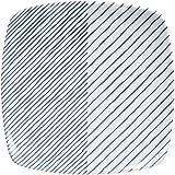 白山陶器 重ね縞 反角中皿(16.5cm) / 取皿 正角皿(波佐見焼 食器 プレート)