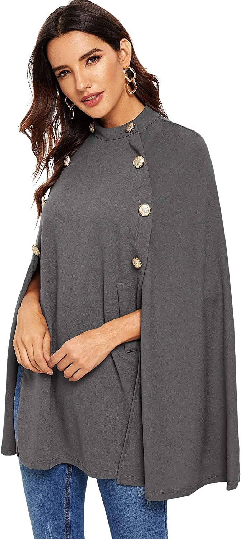 MAKEMECHIC Women's Button Front Cloak Sleeve Elegant Cape Mock Poncho Classy Plaid Print Cape Coat