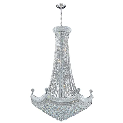20fa034b02 Worldwide Lighting Empire Collection 18 Light Chrome Finish Crystal  Chandelier 30
