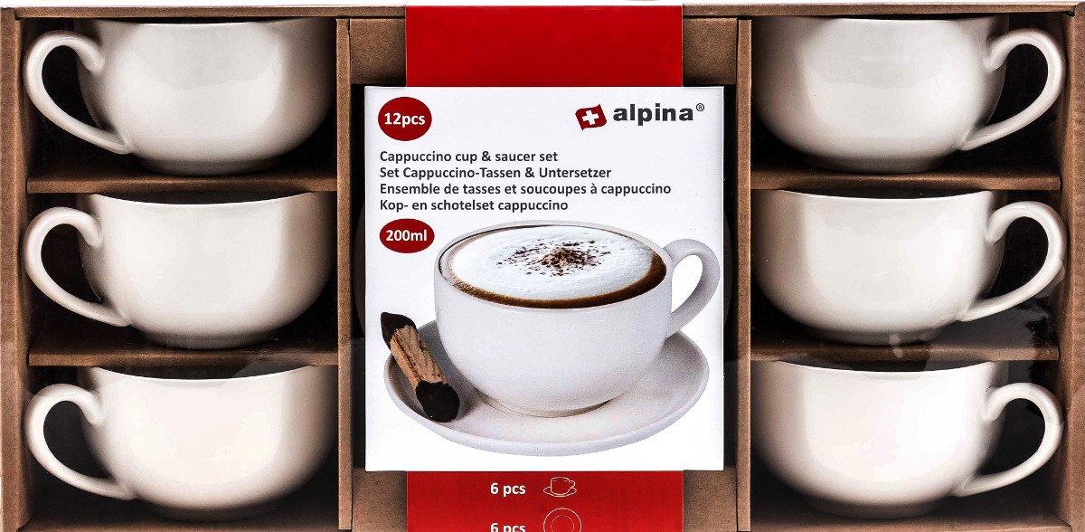Cappuccinotassen Set 12-teilig, 6 Tassen, 6 Unterteller, Volumen 200 ml, 6 Personen, weiß weiß unbekannt