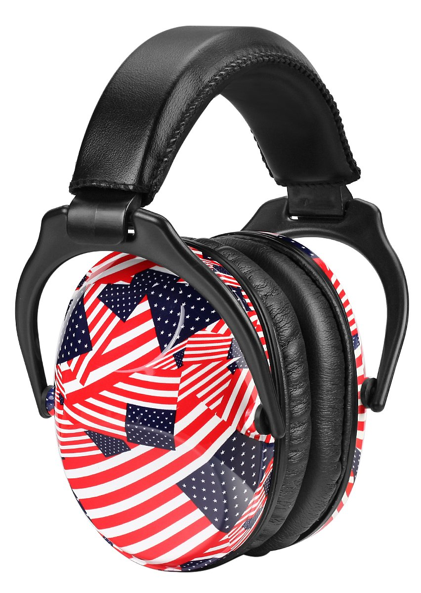 ZOHAN Adjustable Earmuff for Toddler to Teen, Fashionable Hearing Protection For Children (USA Flag)