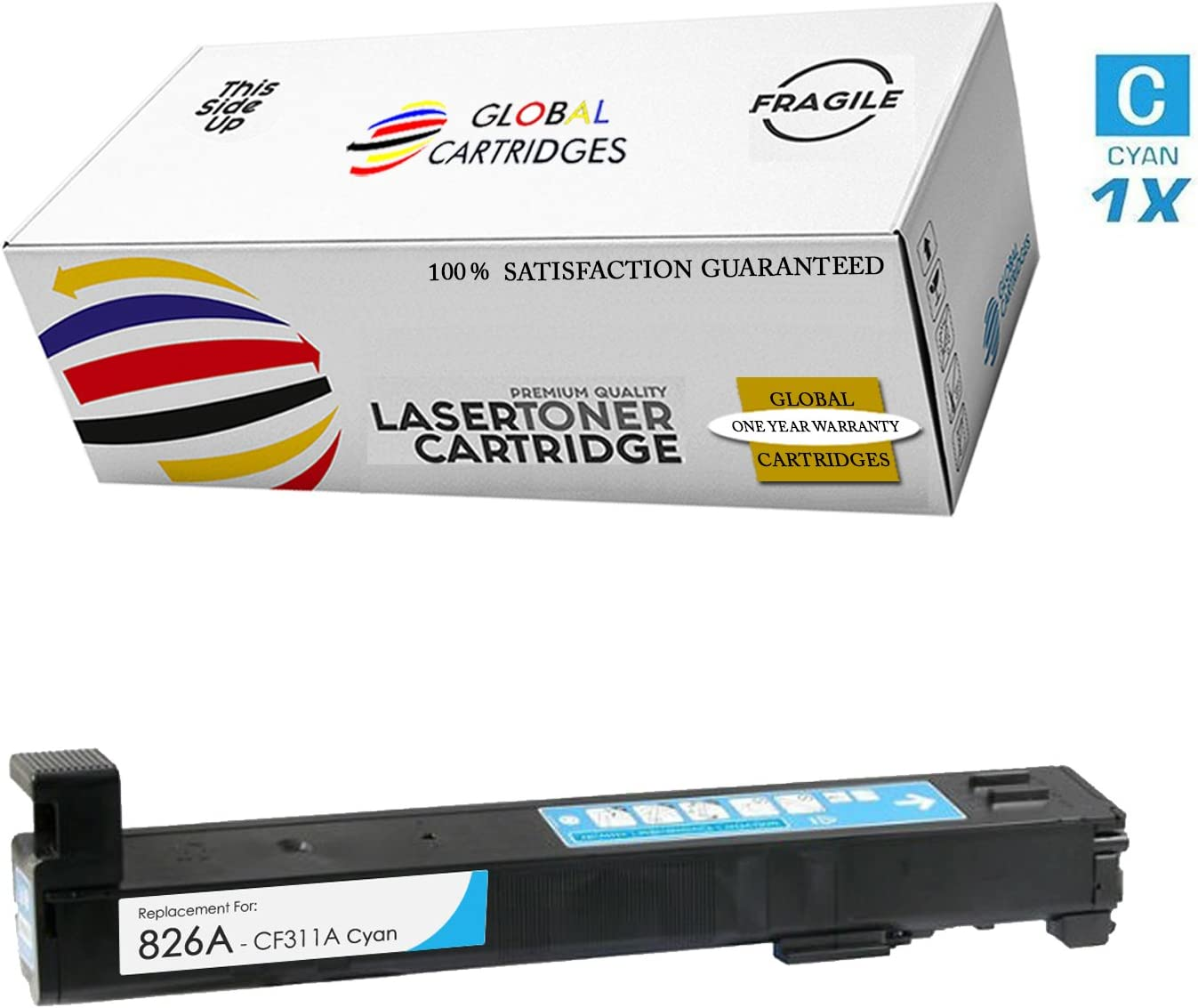 Black, Cyan, Yellow, Magenta GLB Premium Quality Remanufactured Replacement for HP 826A Toner Cartridge Set CF310A CF311A CF312A CF313A