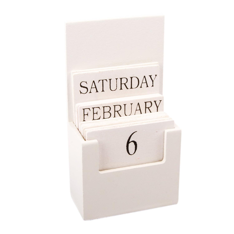 Calendario da tavolo calendario calendario perpetuo Bianco Nero in legno, con giorno della settimana Kersten