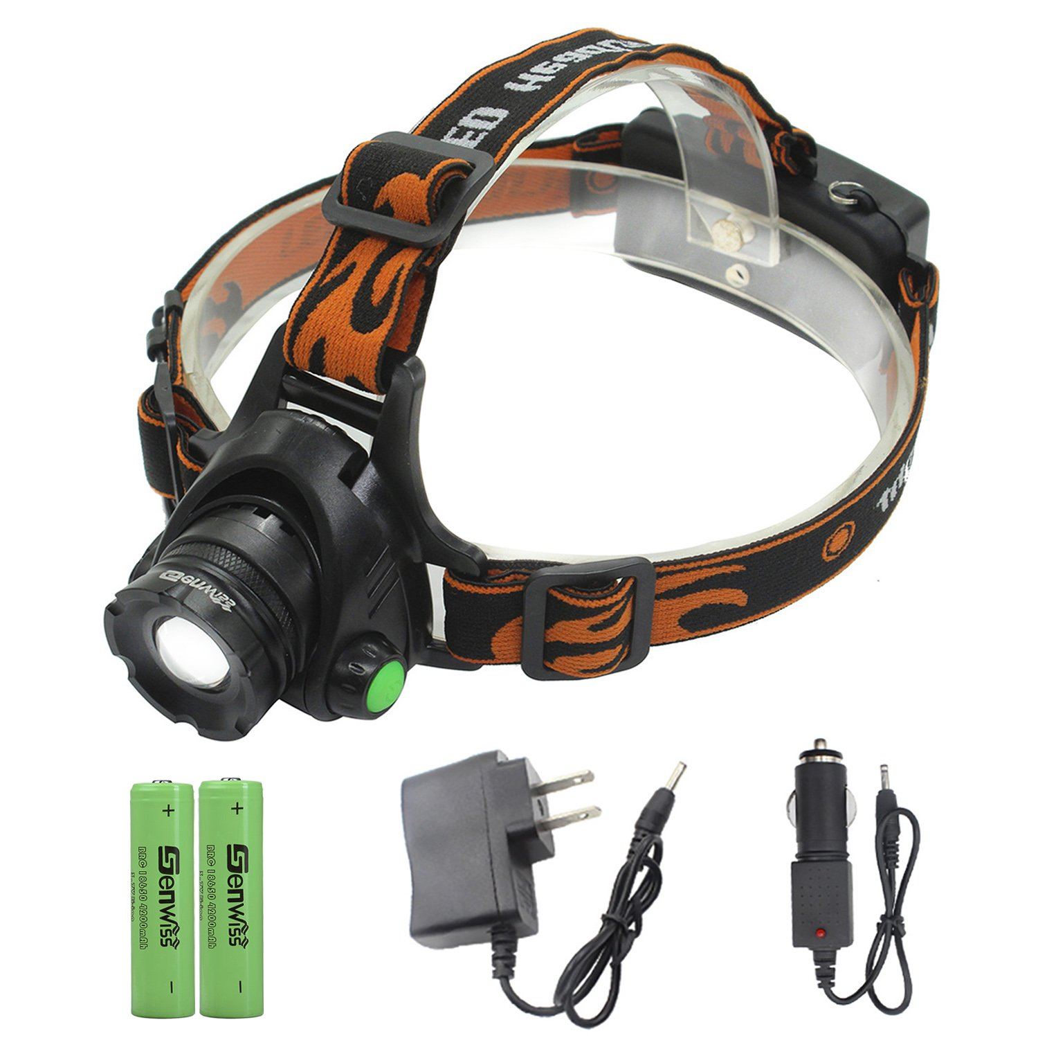 LED Headlamp Power Head Lamp - Genwiss 2000 Lumen XML T6 Headlight Waterproof Flashlight Zoomable Light Torch with 2 x 18650 Rechargeable Batteries, Car Charger, Wall Charger for Camping Biking