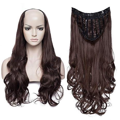 Extensiones de Cabello Natural Clip Peluca Ajustable Diseño de la Parte U Pelo Sintético Una Pieza 7 Clips 3/4 Cabeza Completa Wigs Postizos ...