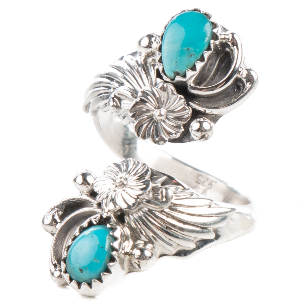 TSKIES Handmade Navajo Turquoise Sterling Silver Adjustable Ring by Native American Artist