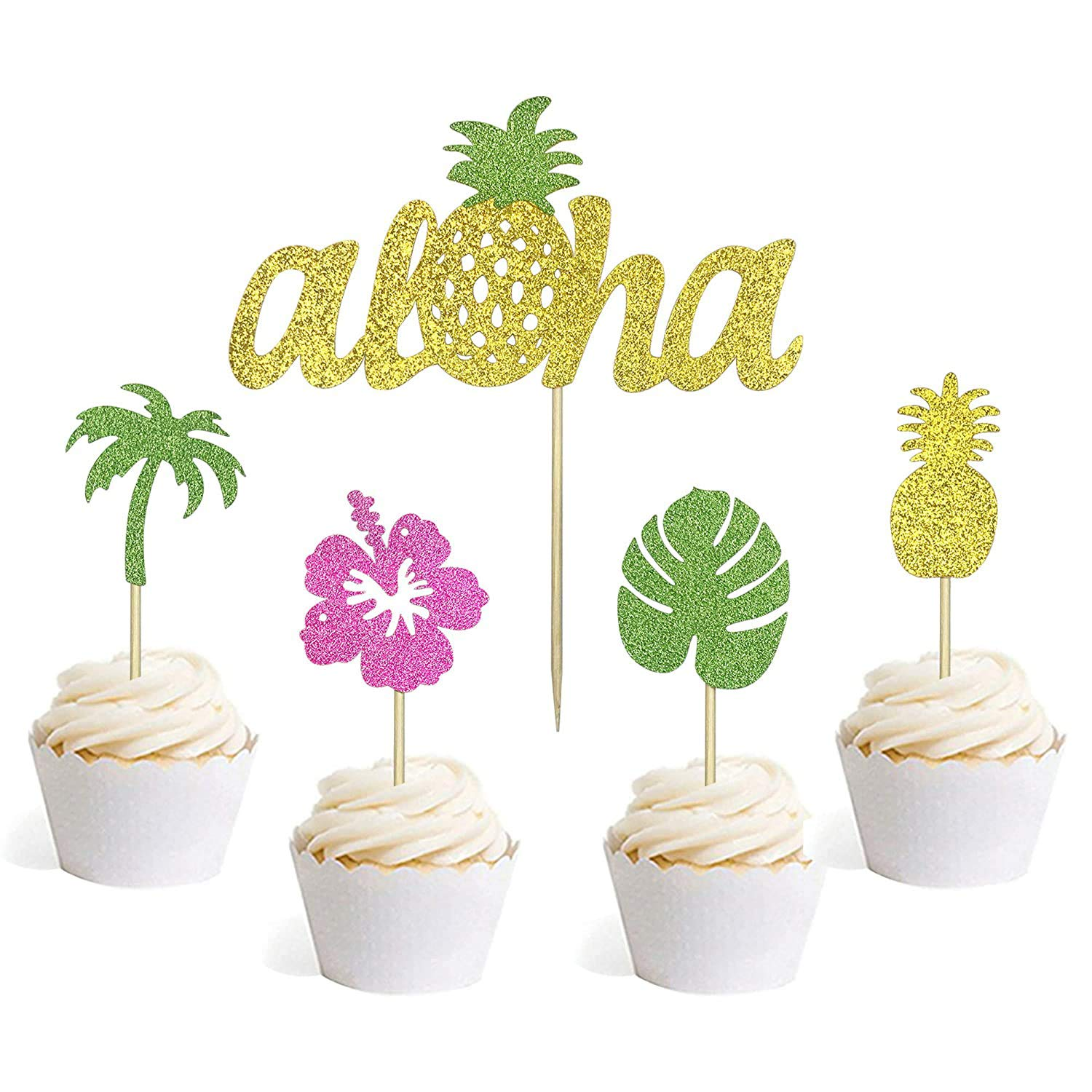37 PCS Summer Cupcake Toppers Palm Leaves Pineapple Hawaiian Flower Coconut Tree Cake Topper Picks for Baby Shower Wedding Birthday Tropical Luau Summer Party Decorations