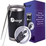 Dininge Stainless steel Tumbler | Sealed Lid with Straw & gift Box | Double Wall Vacuum Insulated | High- Quality and Durable Coffee Mug | Reusable and Convenient | Dishwasher Safe | 20oz Capacity