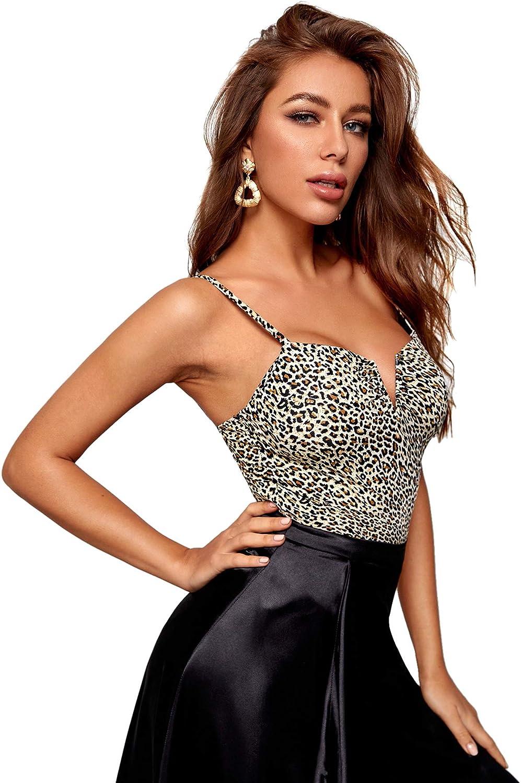 WDIRARA Womens Leopard Print Spaghetti Strap Skinny Stretch Cami Bodysuit
