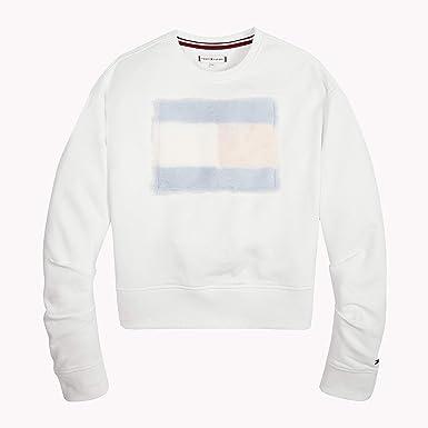 11a5dc3f Tommy Hilfiger Girl's Faux Fur Sweatshirt Bright White 123, 122 ...