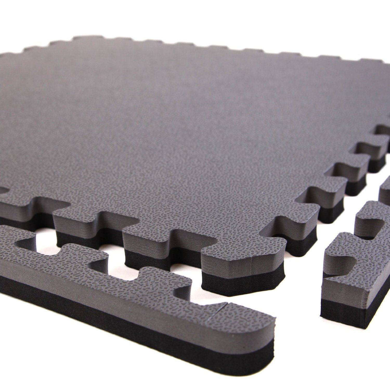 IncStores - 1'' MMA Interlocking Foam Tiles (Black/Grey, 6 Tiles (2ft x 2ft Tiles) 24 Sqft) - Perfect for Martial Arts, Lightweight Home Gyms, p90x, Insanity, Gymnastics, Yoga, Cardio and Aerobics by IncStores (Image #2)