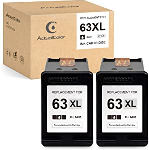 ActualColor C Remanufactured Ink Cartridge Replacement for HP 63 XL 63XL for Envy 4520 4512 OfficeJet 3830 5255 5258 4650 4652 4655 3833 DeskJet 1112 2130 2132 3630 3632 3633 3634 (Black,2 Pack)