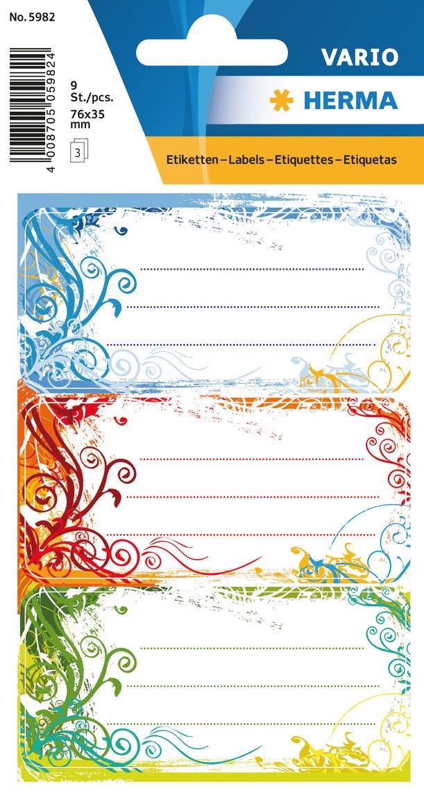 Format 7,6 x 3,5 cm Herma 5982 Buchetiketten Schule Inhalt: 9 Schuletiketten f/ür Schulhefte Motiv Spirit