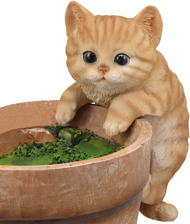 "Ebros Lifelike Pot Pal Hanging Orange Tabby Cat Statue 8"" Tall with Glass Eyes Hand Painted Realistic Feline Cat Decor Figurine Cats Kittens Kitties Animal Pet Sculpture Garden Patio Decorative"
