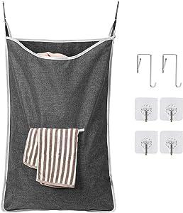 Chrislley Hanging Laundry Hamper Bag Hanging Bag for Laundry Over The Door Laundry Hamper Hanging Laundry Basket (Extra Large-Upgrade Grey)