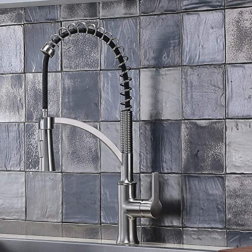 XJBD-WYJT019L Commercial Black and Brushed Nickel Stainess Steel Pull Down Sprayer Spring Kitchen Faucet,Kitchen Sink Faucet with Pull Down Sprayer