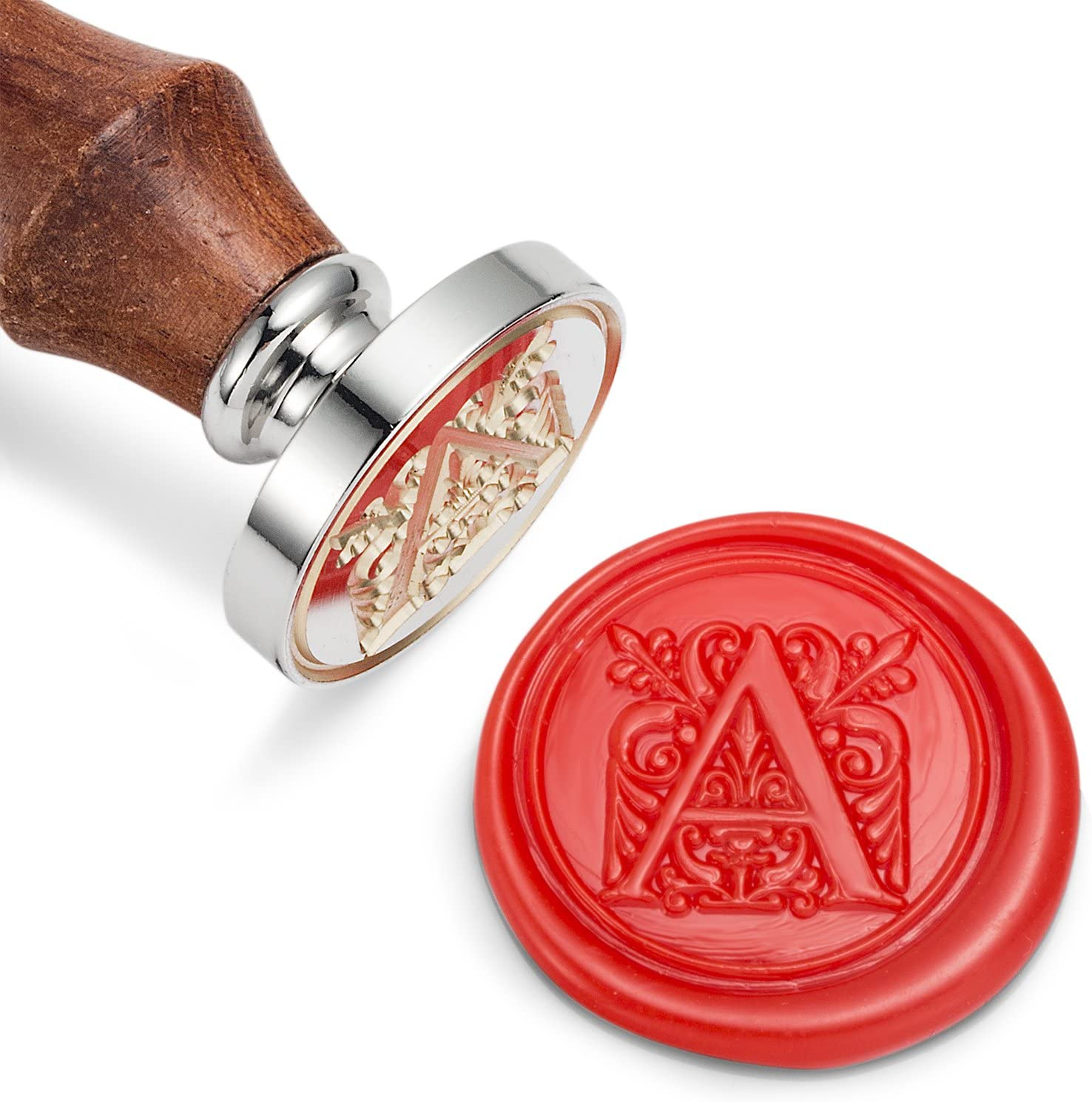 Silver Brass Head with Wooden Handle Mceal Wax Seal Stamp Regal Letter A to Z Series Letter Z