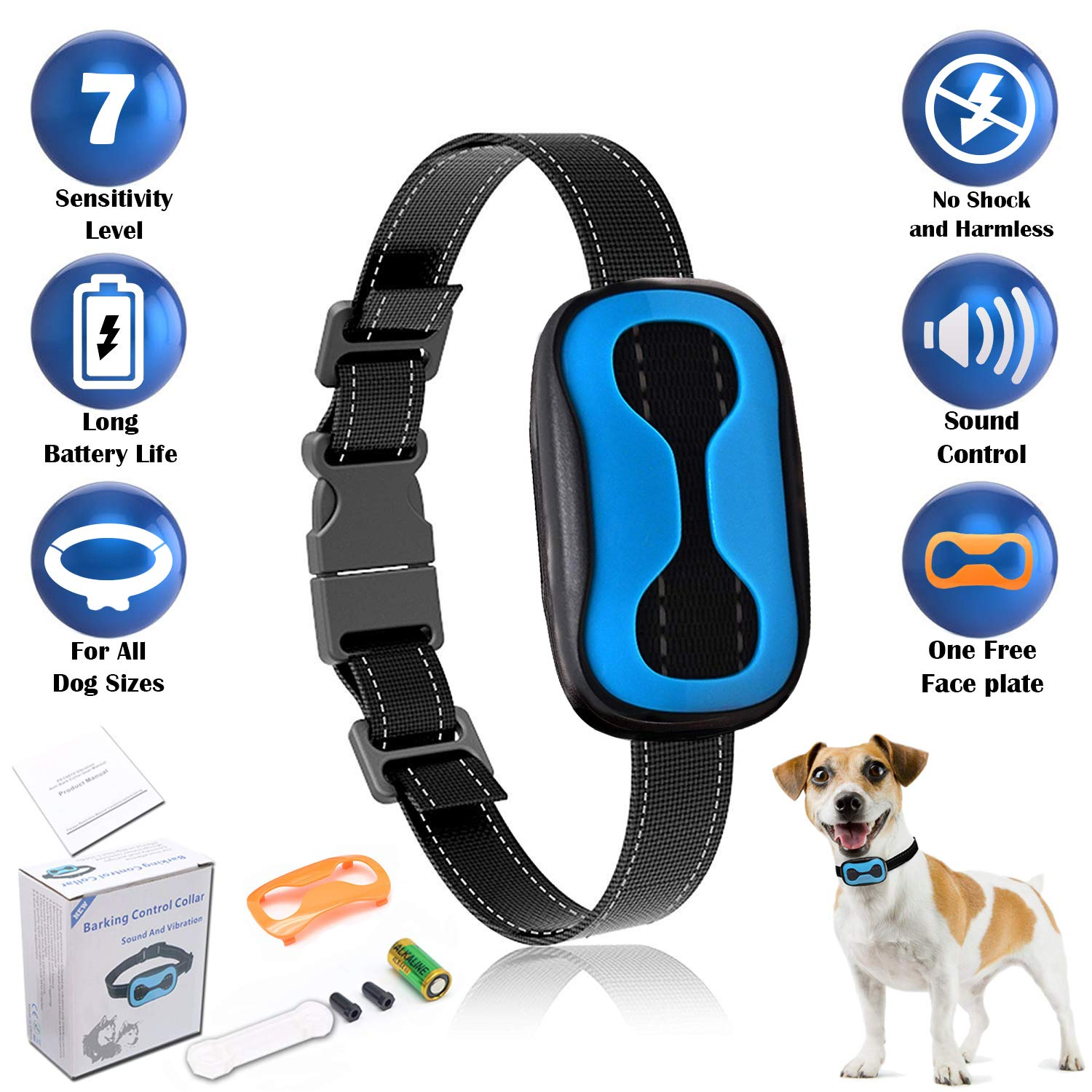 FR Anti Bark Collar with Vibration Dog Collar for Small Medium Large Dogs, Training Collar with 7 Adjustable Levels, Anti Barking Collar for Dogs
