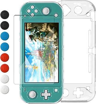 Funda transparente para Switch Lite, ultrafina y rígida de policarbonato para Nintendo Switch Lite con protector de pantalla de cristal y 8 tapones para los pulgares: Amazon.es: Electrónica