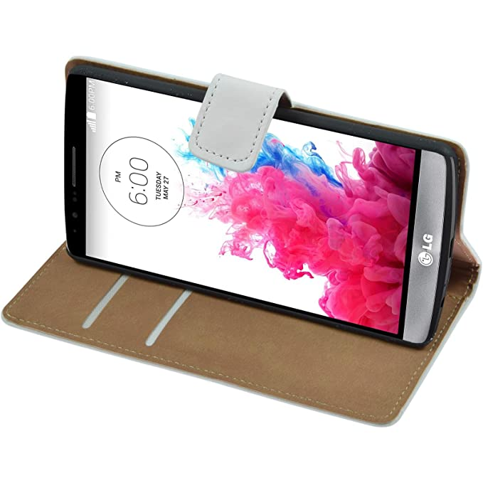7 opinioni per PhoneNatic Copertura di cuoio artificiale per LG G3- Wallet bianco- Cover +