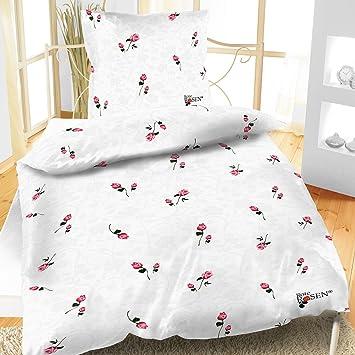Bettwäsche Linon Rote Rosen 2 Teilig Weiß Amazonde Küche Haushalt