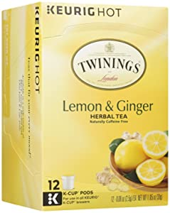 Twinings of London Lemon & Ginger Herbal Tea for Keurig, 12 Count