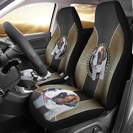 Cute Saint Bernard Dog Print Car Seat Covers