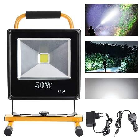 Hengda® 50W Blanco frío LED Foco proyector Recargable del Jardín ...